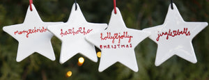 Set of 4 Star Hanging Ornaments with Hand Lettering Style Christmas Lyrics