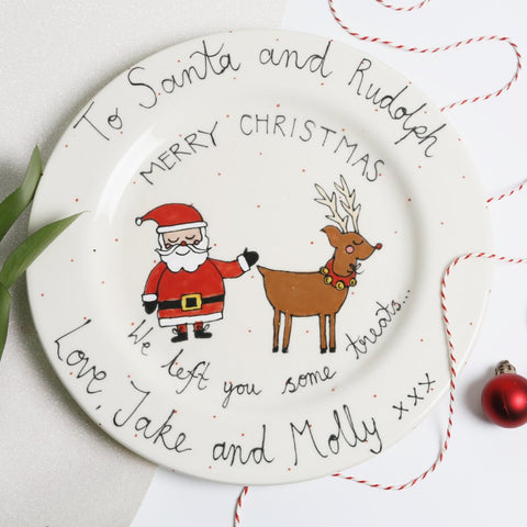 Personalised Christmas Eve Treats for Santa and Rudolph Plate