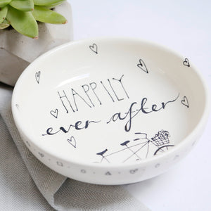 Monochrome Happily Ever After with Tandem Bike Personalised bowl