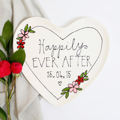 Personalised Happily Ever After Heart Shaped Plate