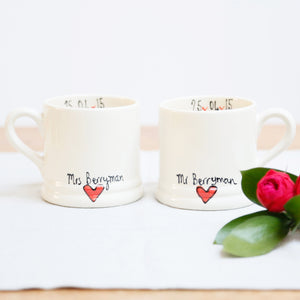 Simple Red Heart Personalised Mr and Mrs mugs