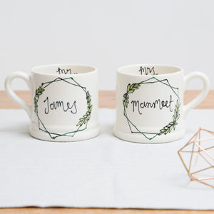 Stylish hexagon wreath Personalised Mr and Mrs mugs