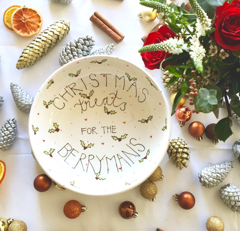 Personalised Family Name Christmas Treats bowl