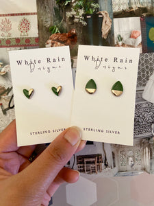 *NEW* Ceramic earrings with platinum lustre (Choice of colours and shapes)