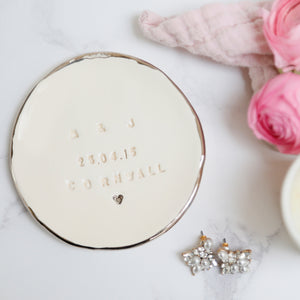 Platinum lustre Jewellery Dish with Initials, date and location