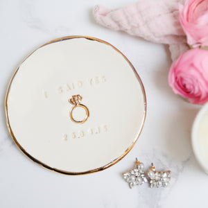 I Said Yes Jewellery Dish, with Ring icon and Date