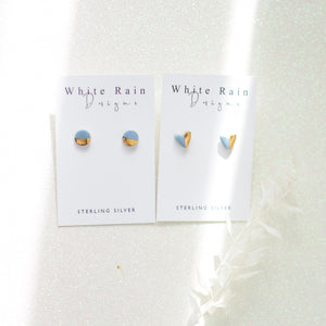 SINGLE X 1  Ceramic earring with gold lustre SINGLE STUD ONLY