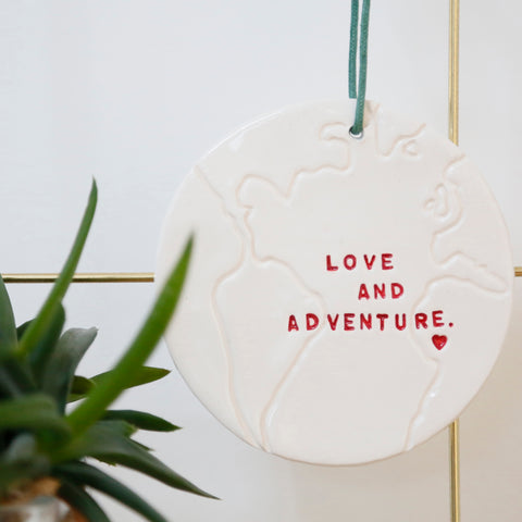 Love and Adventure Globe hanging decoration