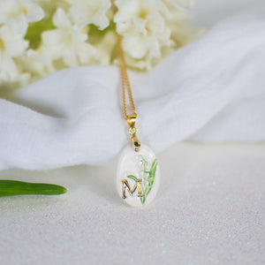 Personalised Hand Painted Birth Flower Ceramic Pendant