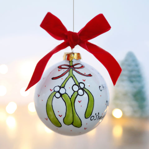 Personalised First Christmas as Mr and Mrs Ceramic Bauble with Mistletoe