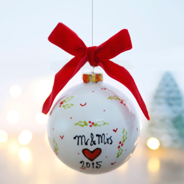 Personalised First Christmas as Mr and Mrs Ceramic Bauble with Holly and Hearts