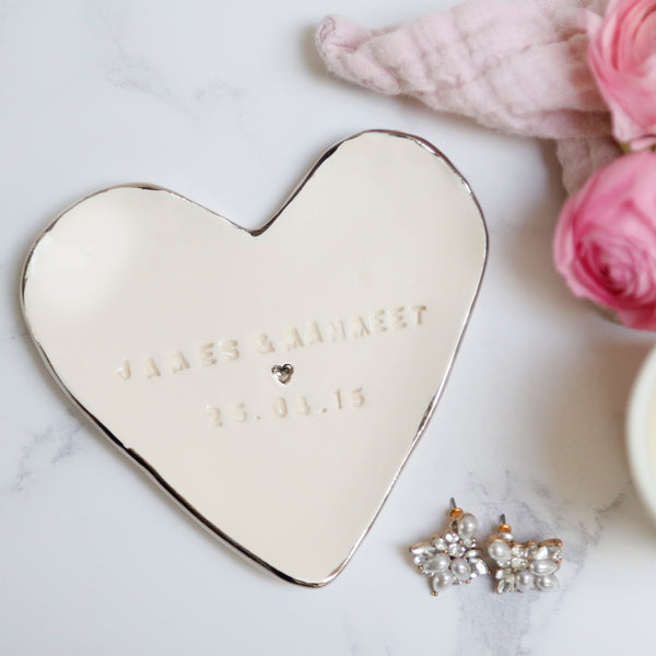 Platinum lustre Jewellery Dish with names and date