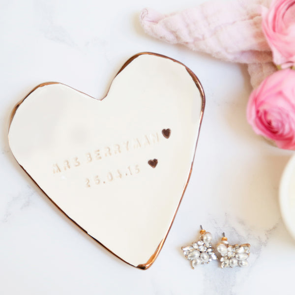 Choice of Gold, Platinum or Copper 'Mrs' Jewellery Dish with Surname and date