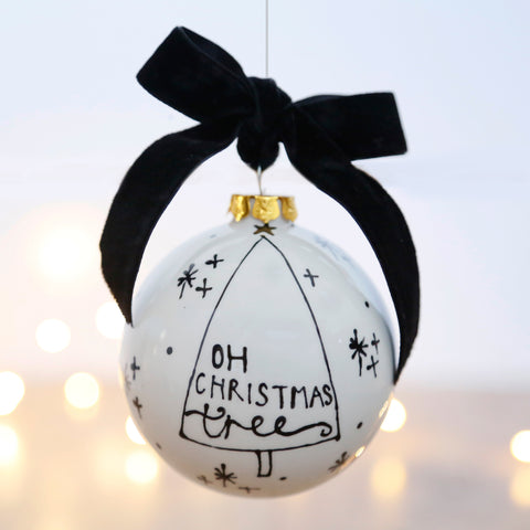 Modern and Stylish Ceramic Bauble featuring the Christmas Lyrics Oh Christmas Tree