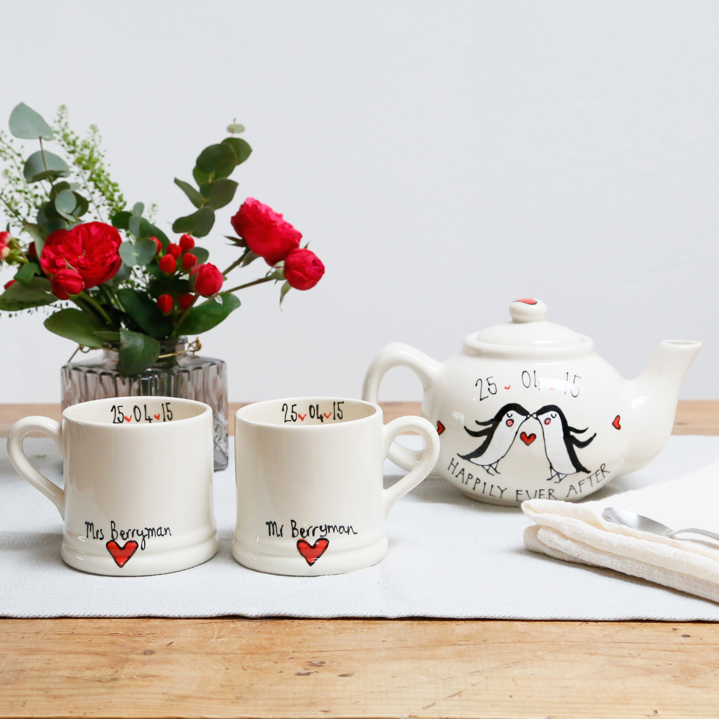 Cute Penguins in Love Mr and Mrs Teapot and Mugs Set