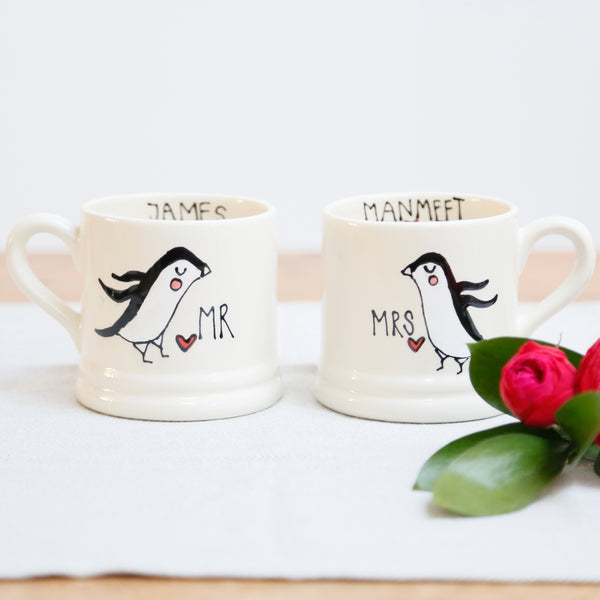 Cute Penguin Personalised Mr and Mrs mugs