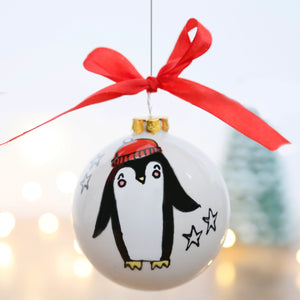 Cute Christmas Penguin Ceramic Bauble