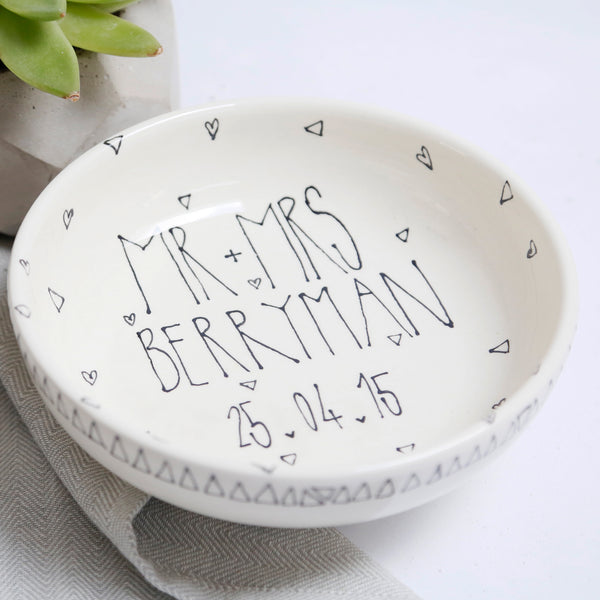 Monochrome Geometric Style Mr and Mrs Personalised bowl