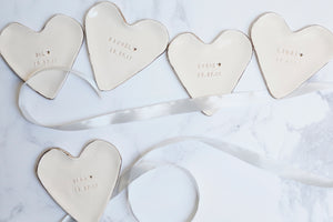 Heart shaped Bridesmaid Favour Jewellery Dishes with Platinum lustre Edges