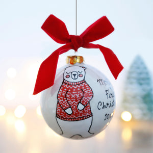 First Christmas Personalised Ceramic Bauble with Polar Bear Design