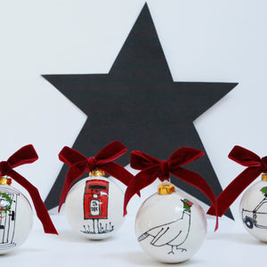 Set of 4 Simple and Stylish Country Style Ceramic Baubles