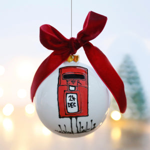 Christmas Bauble with a Traditional Country Style Red Post Box