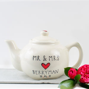 Classic Love Heart Personalised Mr and Mrs Teapot