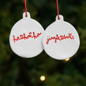 Set of 2 Flat Bauble Style Ornaments with Hand Lettering Style Christmas Lyrics