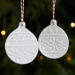 Set of 2 Flat Bauble Style Hanging Ornaments with Embossed Christmas Patterns