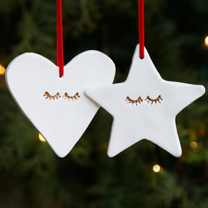 Star and Heart Hanging Ornaments with 22c Gold Lustre Eyelashes