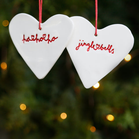 Set of 2 Heart Ornaments with Hand Lettering Style Christmas Lyrics