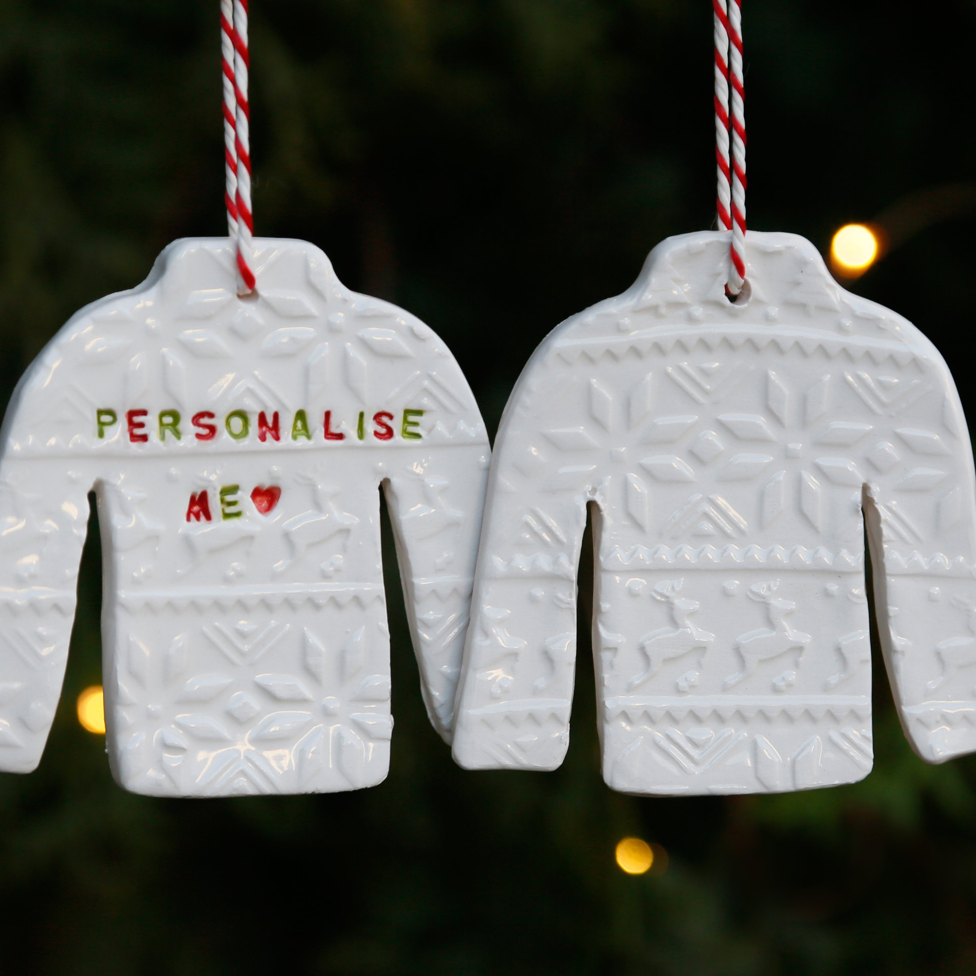 Christmas Jumper Hanging Ornament with Embossed Christmas Patterns