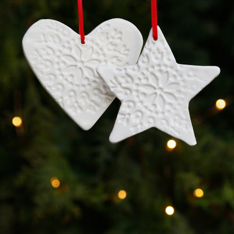 Pair of Heart and Star Hanging Ornament with Embossed Patterns