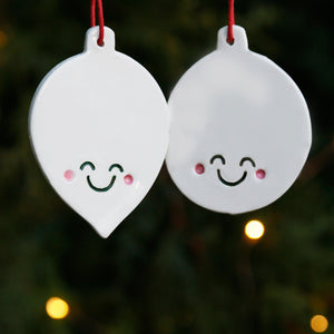 Set 2 Flat Bauble Style Ornaments with Cute Smiley Faces