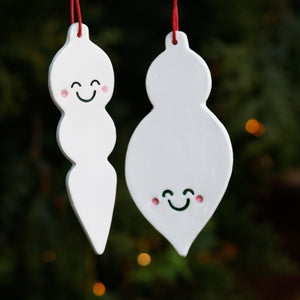 Set 2 Flat Long Bauble Style Ornaments with Cute Smiley Faces