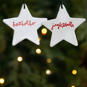 Set of 2 Star Ornaments with Hand Lettering Style Christmas Lyrics