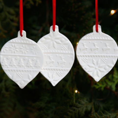 Set of 3 Flat Bauble Style Hanging Ornaments with Embossed Christmas Patterns