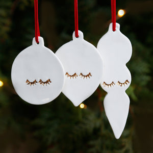 Set of 3 Flat Bauble Style Hanging Ornaments with 22c Gold Lustre Eyelashes