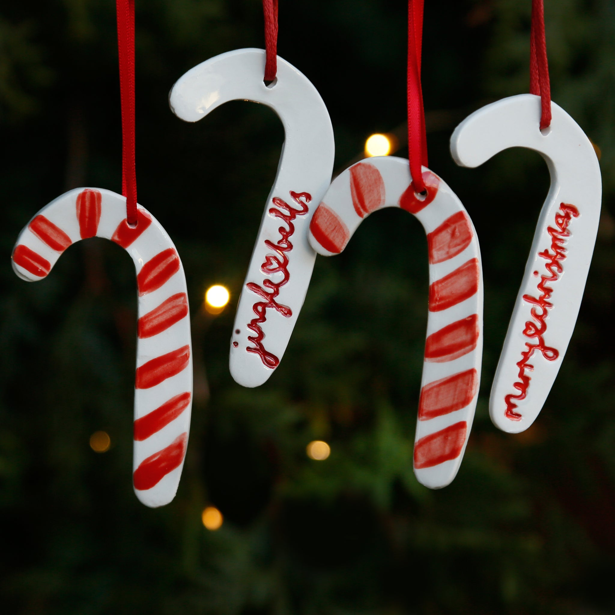 Set of 4 Candy Cane Ornaments with Hand Lettering Style Christmas Lyrics