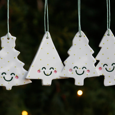 Set 4 Christmas Tree Ornaments with Cute Smiley Faces