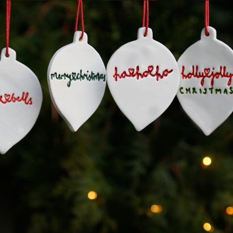 Set of 4 Flat Bauble Style Ornaments with Hand Lettering Style Christmas Lyrics