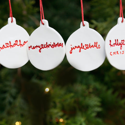 Set of 4 Christmas Jumper Hanging Ornaments with Hand Lettering Style Christmas Lyrics