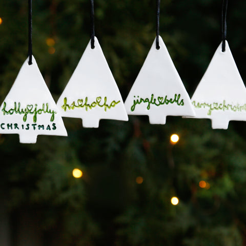 Set of 4 Christmas Tree Ornaments with Hand Lettering Style Christmas Lyrics