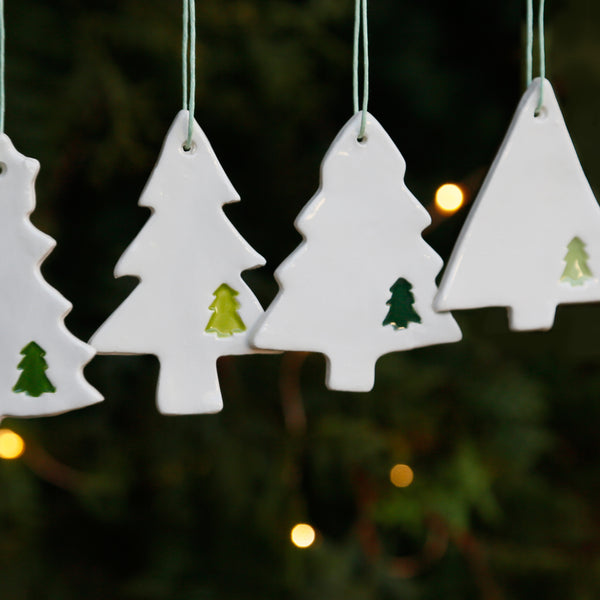 Set of 4 Christmas Tree Ornaments with Tree prints