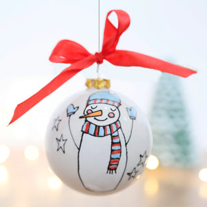 Happy Snowman Ceramic Bauble