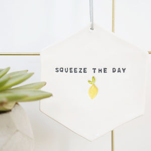 Squeeze The Day Hexagon hanging decoration