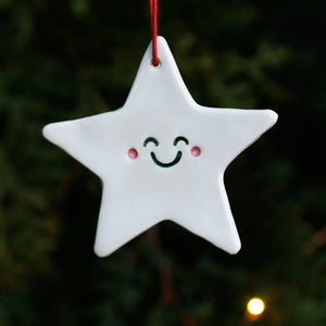 Star Hanging Ornament with Cute Smiley Face