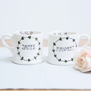 Simple Leaf Wreath Personalised Mr and Mrs mugs