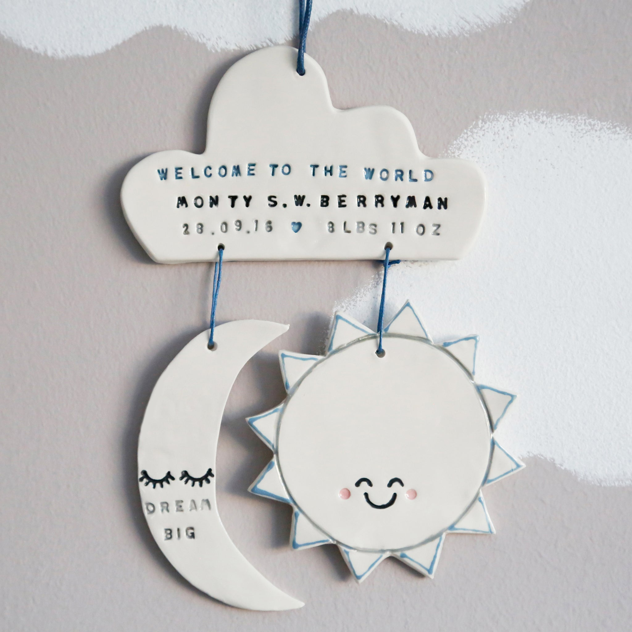 Personalised Welcome to the world Cloud, sun and moon Hanging Decoration
