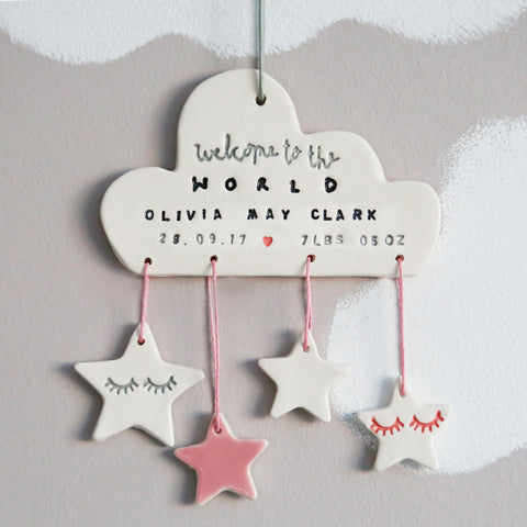 Personalised Welcome to the world Cloud with stars Hanging Decoration